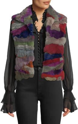 Adrienne Landau Multicolor Patched Fur Vest
