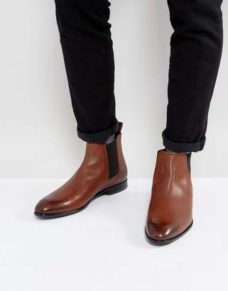 HUGO Dressapp Burnished Calf Leather Chelsea Boots in Tan