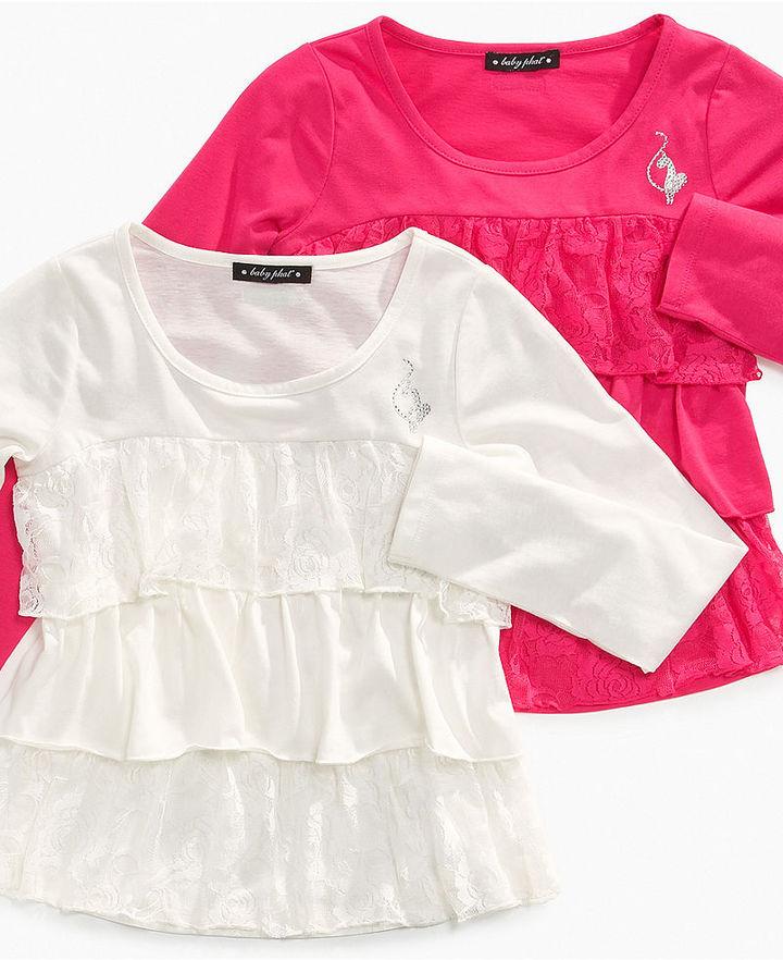 Baby Phat Shirt, Girls Tiered Lace Ruffle Shirt