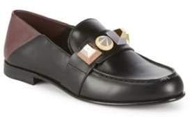 Fendi Slip-On Round Toe Leather Loafers