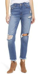 Prosperity Denim Ripped Ankle Straight Leg Jeans
