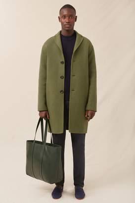 Mansur Gavriel Men's Boiled Wool Classic Coat - Moss