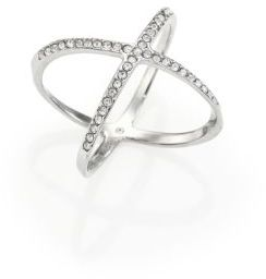Michael Kors Brilliance Statement Pave X Ring/Silvertone $65 thestylecure.com