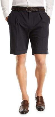 BOSS Pierce Wide Pleated Seersucker Shorts