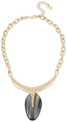 "Robert Lee Morris Soho Gold-Tone Oval Stone Sculptural Pendant Necklace, 18"" + 3"" extender"