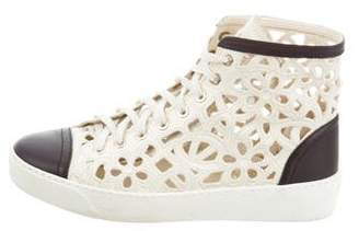 Chanel Embroidered High-Top Sneakers