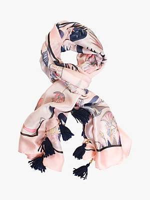 chesca Floral Tasselled Trim Scarf, Blush