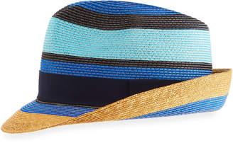 Etro Tricolor Straw Fedora Hat