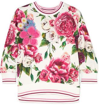 Dolce & Gabbana Embellished Appliquéd Floral-print Cotton-blend Jersey Sweatshirt - Pink