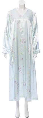 Oscar de la Renta Floral Print Long Sleeve Nightgown