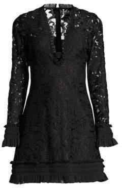 Alexis Women's Nuray Lace Mini Dress - Black Lace - Size Small