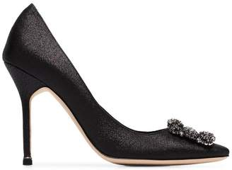 7c83b1ecabd3c3 Manolo Blahnik black hangisi 105 satin jewel buckle pumps