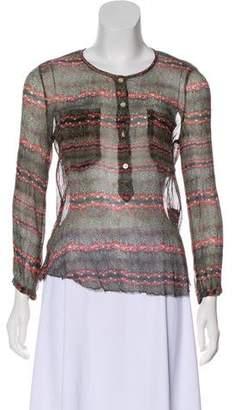 Etoile Isabel Marant Silk Printed Long Sleeve Top