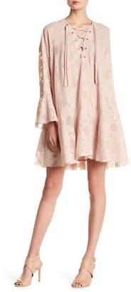 IRO Lace-Up Bell Sleeve Sheer Mesh Inset Dress