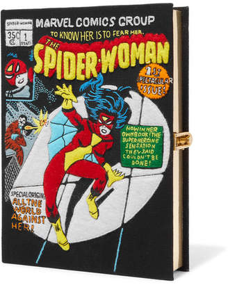Olympia Le-Tan Spider-woman Appliquéd Cotton-canvas Clutch - Black