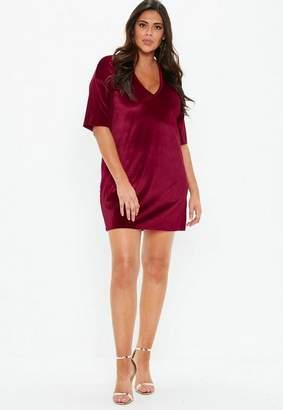 Missguided Plus Size Burgundy V Neck Velvet T Shirt Dress