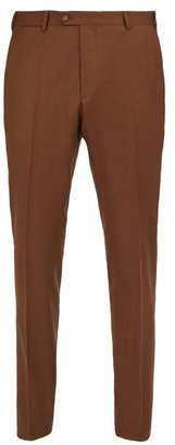 Officine Generale Paul Wool Flannel Trousers - Mens - Brown