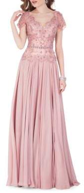 Terani Couture Glamour by Sequin Embellished Pleated Gown