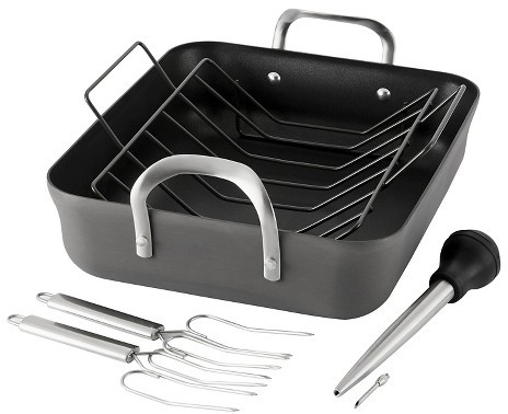 CalphalonCalphalon Contemporary 16 Inch Non-stick Dishwasher Safe Roaster Pan and Rack