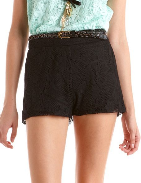 Charlotte Russe Belted High Waist Lace Short