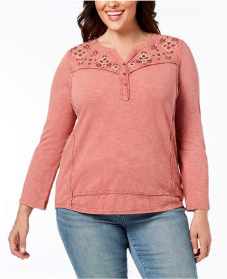 Style&Co. Style & Co Plus Size Cotton Embroidered Split-Neck Top