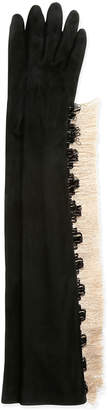 Lanvin Long Gloves w\/Fringe Black