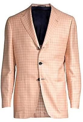 Kiton Men's Gingham Single-Breasted Wool, Silk& Linen Blazer
