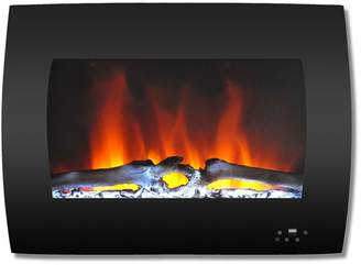 Cambridge Silversmiths 26 Curved Wall-Mount Electric Fireplace, Black, Multi-Color Flames