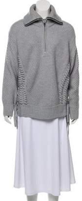 Barbara Bui Wool Lace-Up Sweater