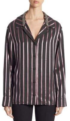 Alexander Wang Crystal-Trim Striped Pajama Top
