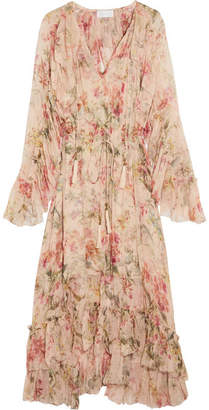 Zimmermann - Mercer Floating Ruffled Floral-print Silk-georgette Dress - Cream $1,150 thestylecure.com