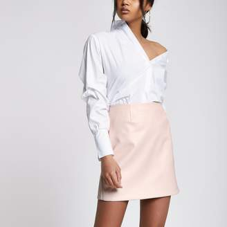River Island Womens Light Pink faux leather skirt