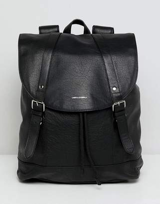 Asos Design leather backpack in black with front pocket detail