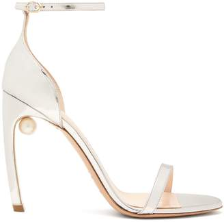 Nicholas Kirkwood Mira pearl-heeled metallic leather sandals