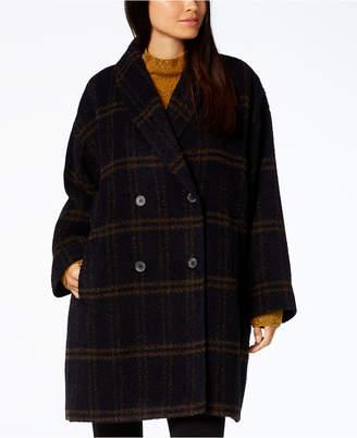 Eileen Fisher Plaid Alpaca Blend Shawl-Collar Coat