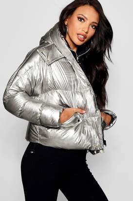 boohoo Metallic Hooded Puffer Jacket