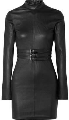 RtA Domino Belted Stretch-leather Turtleneck Mini Dress - Black