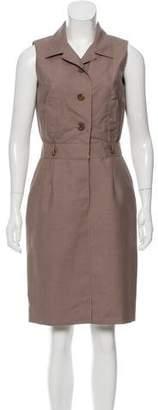 Oscar de la Renta Snakeskin-Accented Collared Dress