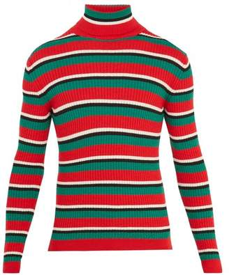 Gucci - Striped Roll Neck Ribbed Knit Wool Sweater - Mens - Red Multi