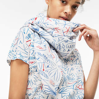 Lacoste Women's Print Cotton Voile Scarf