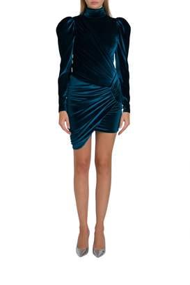Alexandre Vauthier Short Velvet Dress With Puffed Sleeve