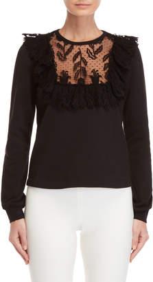 Giamba Swiss Dot Lace Bib Sweatshirt