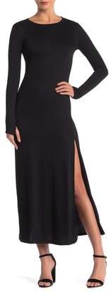 Couture Go Crew Neck Knit Thumbhole Maxi Dress