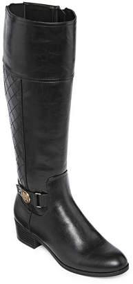 Liz Claiborne Womens Block Heel Zip Trino Riding Boots