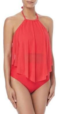 CoCo Reef Aura Mesh Ruffle Bra-Sized Tankini Swim Top