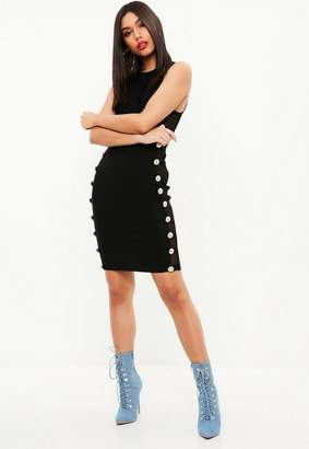 Missguided Black Cut Out side Bandage Dress