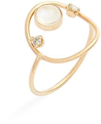 Chicco Zoe Moonstone & Diamond Open Circle Ring
