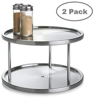 Lazy Susan 2 Tier 2 PK Stainless Steel 360 Degree Turntable – Rotating 2 Level Tabletop Stand For Your Dining Table