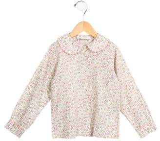 Rachel Riley Girls' Floral Print Button-Up Top