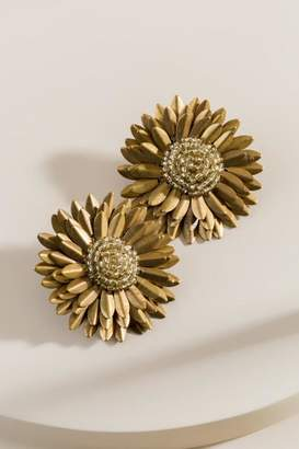 francesca's Briana Beaded Flower Statement Earrings - Gold